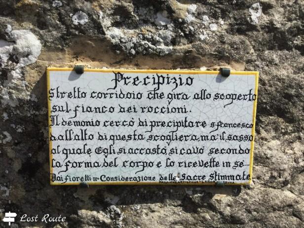 Il Precipizio e la leggenda, al Santuario della Verna