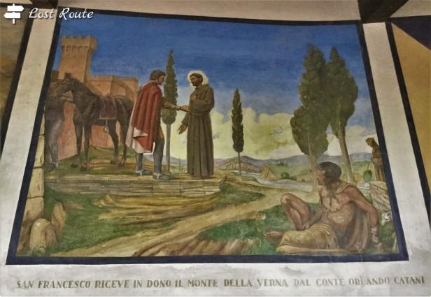 San Francesco riceve in dono in monte della Verna dal Conte Orlando Catani