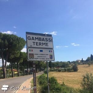 Cartello Gambassi Terme, via Francigena