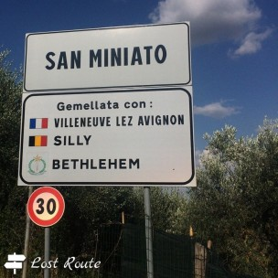Cartello San Miniato Alto, via Francigena