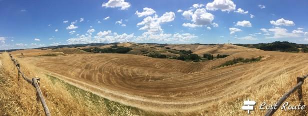 Panorama sulle colline toscane, Via Francigena