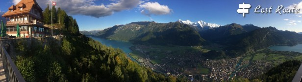 Panorama Interlaken, mt Eiger, Monch, Jungfrau, dall'Harder Kulm