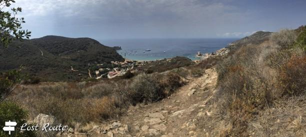 Panoramica su Giglio Campese, dalla Torre del Campese a Punta Faraglione