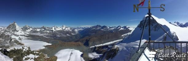 Panoramica sulla valle di Zermatt e i giganti intorno
