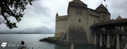 Panoramica del Castello di Chillon sul Lago Lemano, Veytaux, Grand Tour of Switzerland