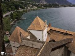 Vista dalla torre più alta del Castello di Chillon, Veytaux, Grand Tour of Switzerland