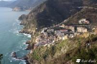 Riomaggiore, illuminato da qualche raggio di sole, Cinque Terre, Liguria